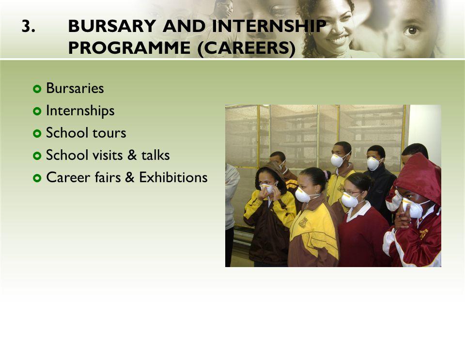 3.BURSARY AND INTERNSHIP PROGRAMME (CAREERS)  Bursaries  Internships  School tours  School visits & talks  Career fairs & Exhibitions