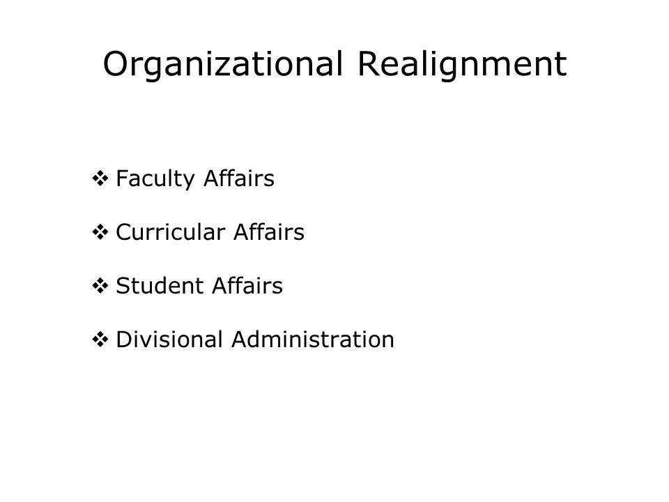 We Created a New Management Structure Divisional Dean Director of Faculty Affairs Director of Acad.
