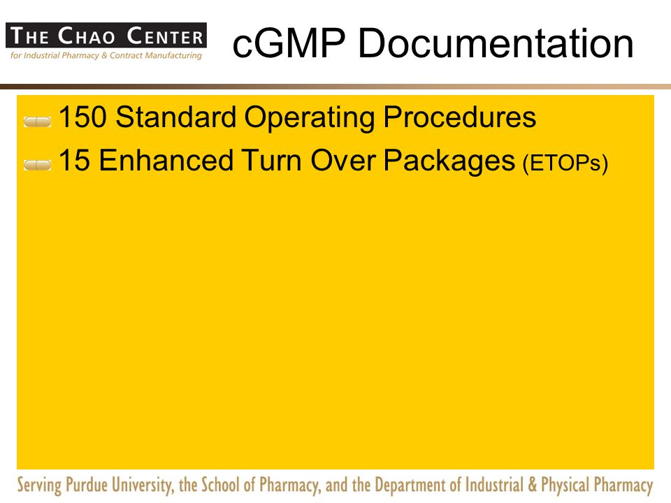 cGMP Documentation Over 150 Standard Operating Procedures