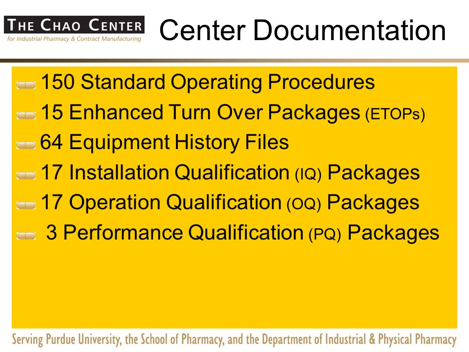 cGMP Documentation 150 Standard Operating Procedures 15 Enhanced Turn Over Packages (ETOPs) 64 Equipment History Files 17 Installation Qualification (IQ) Packages 17 Operation Qualification (OQ) Packages