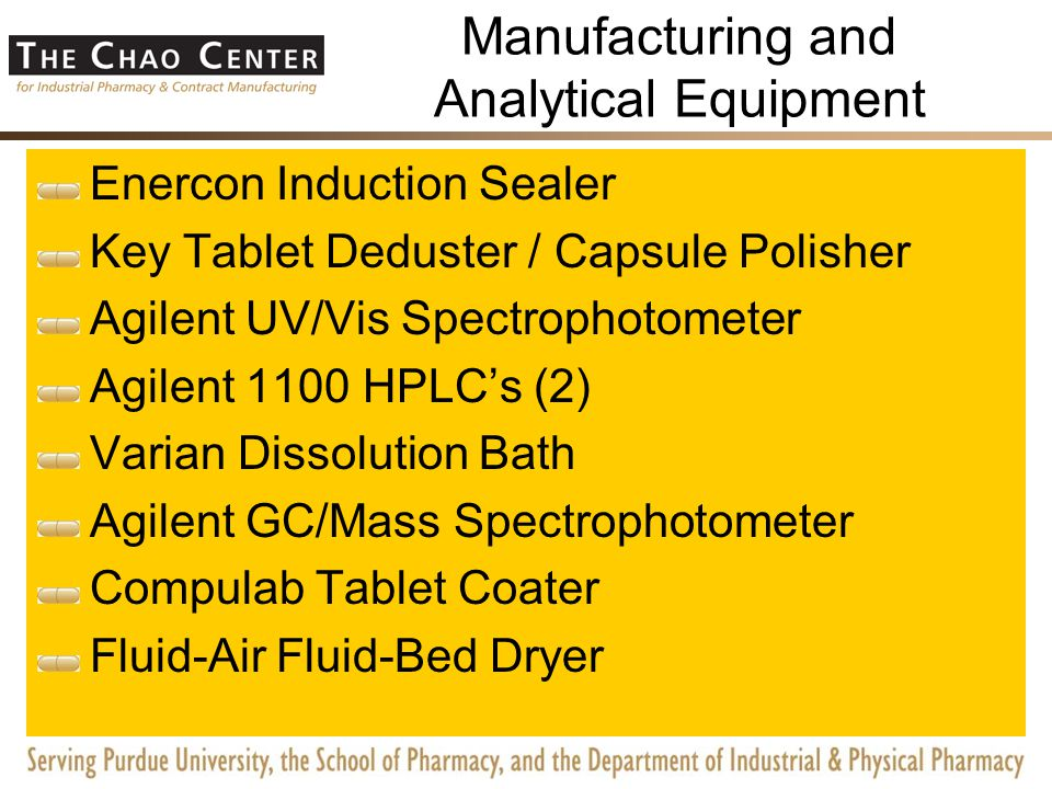 Manufacturing and Analytical Equipment Zanasi Encapsulator Tooling Manesty Betapress (B-Tooling and D-Tooling) Kalish Bottle Capper Kalish Bottle Washer Tote Blender Gruenberg Oven Loma Metal Detector Sade-P2 Weigher / Sorter