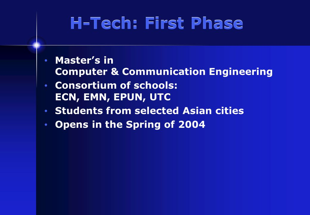 H-Tech: Master's Program Two years 16, five-credit courses (80 ECTS credits) 6-month internship (40 credits) Online, plus on-site in France Four 10-week terms