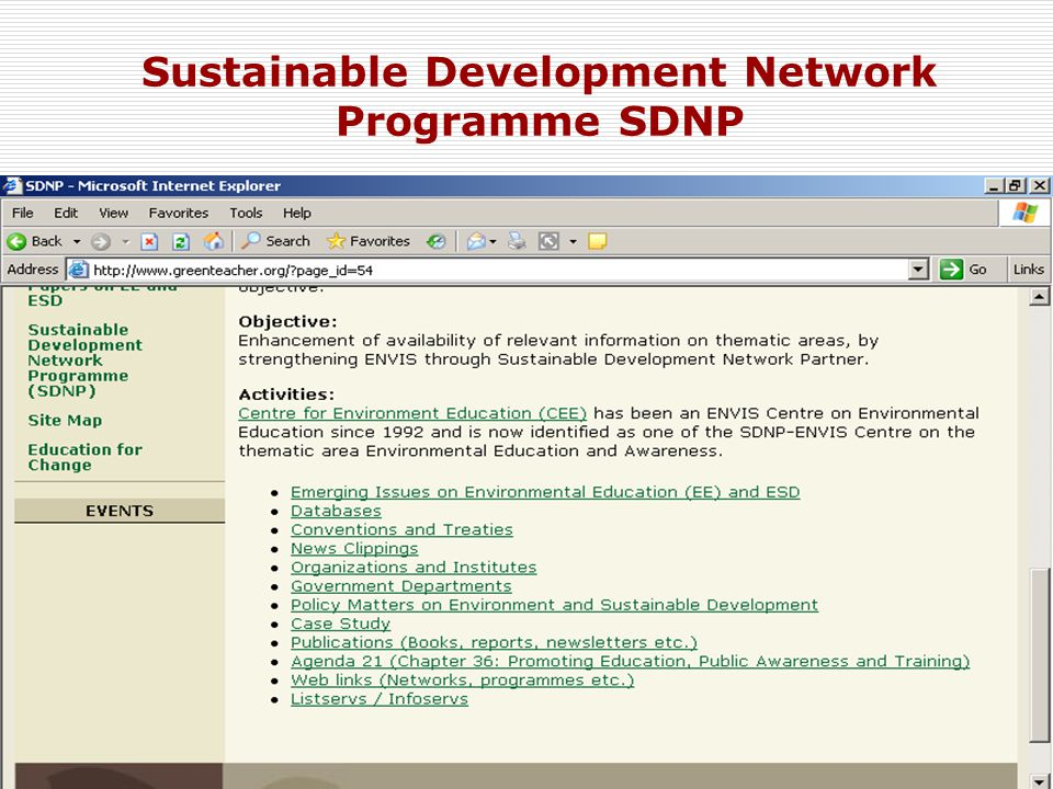 12 Sustainable Development Network Programme SDNP
