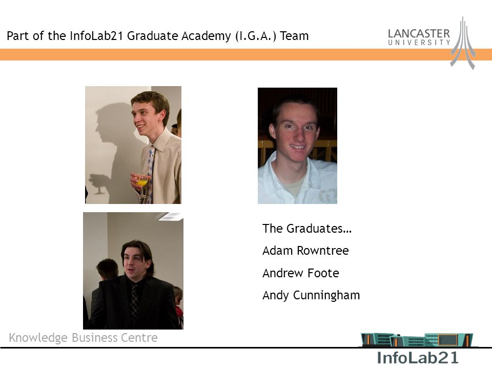 Knowledge Business Centre Part of the InfoLab21 Graduate Academy (I.G.A.) Team The Graduates… Adam Rowntree Andrew Foote Andy Cunningham