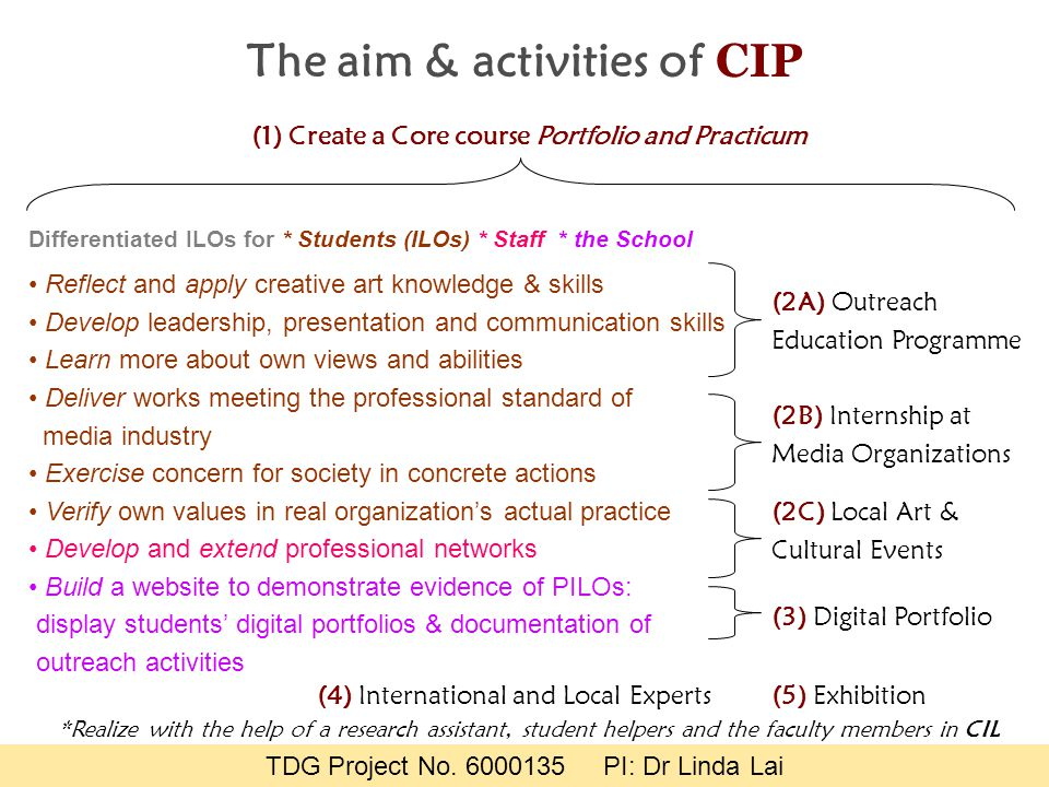 The aim & activities of CIP Reflect and apply creative art knowledge & skills Develop leadership, presentation and communication skills Learn more abo