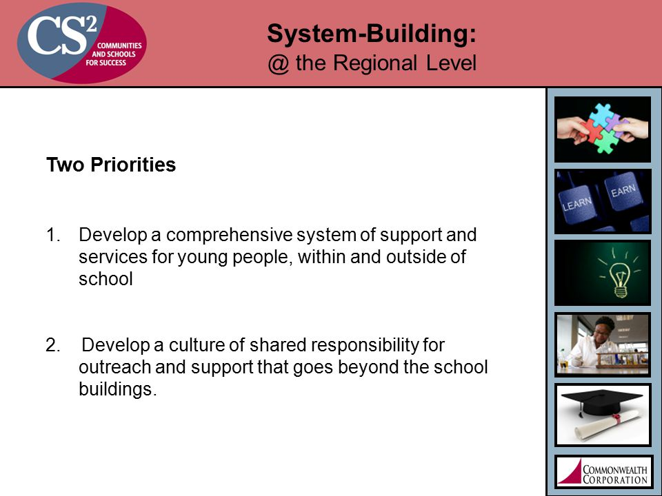 System-Building: @ the Regional Level Two Priorities 1.Develop a comprehensive system of support and services for young people, within and outside of school 2.