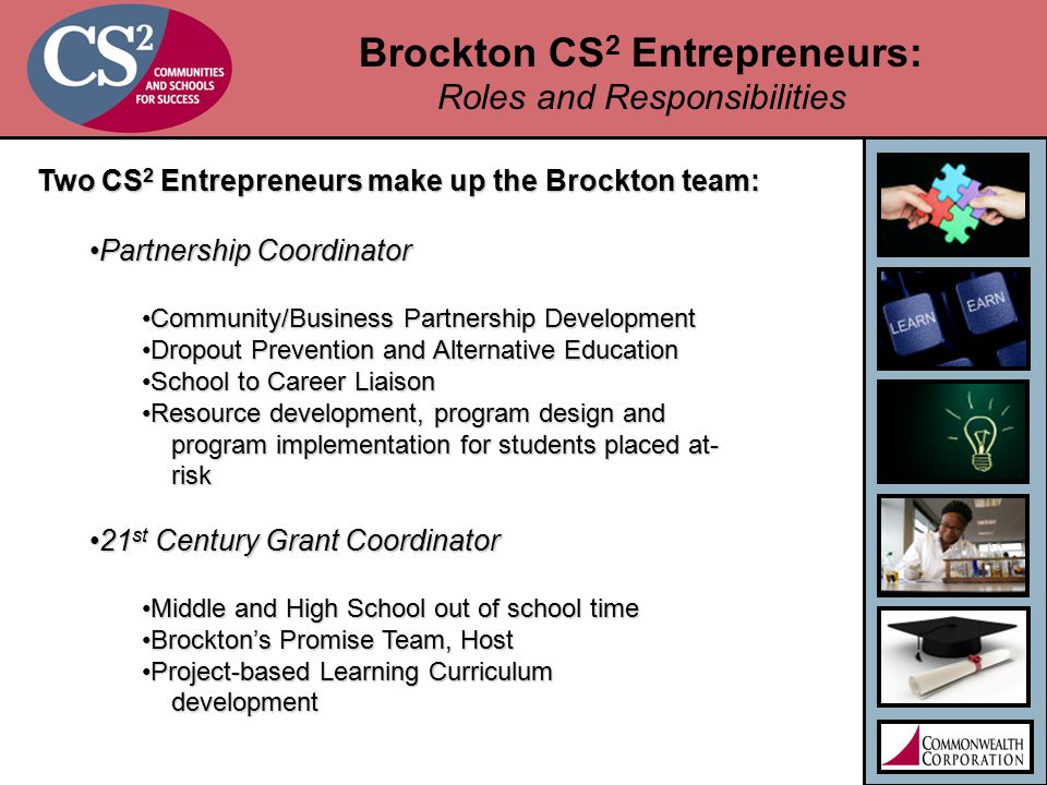 Brockton CS 2 Entrepreneurs: Roles and Responsibilities Two CS 2 Entrepreneurs make up the Brockton team: Partnership CoordinatorPartnership Coordinator Community/Business Partnership DevelopmentCommunity/Business Partnership Development Dropout Prevention and Alternative EducationDropout Prevention and Alternative Education School to Career LiaisonSchool to Career Liaison Resource development, program design andResource development, program design and program implementation for students placed at- program implementation for students placed at- risk risk 21 st Century Grant Coordinator21 st Century Grant Coordinator Middle and High School out of school timeMiddle and High School out of school time Brockton's Promise Team, HostBrockton's Promise Team, Host Project-based Learning CurriculumProject-based Learning Curriculum development development