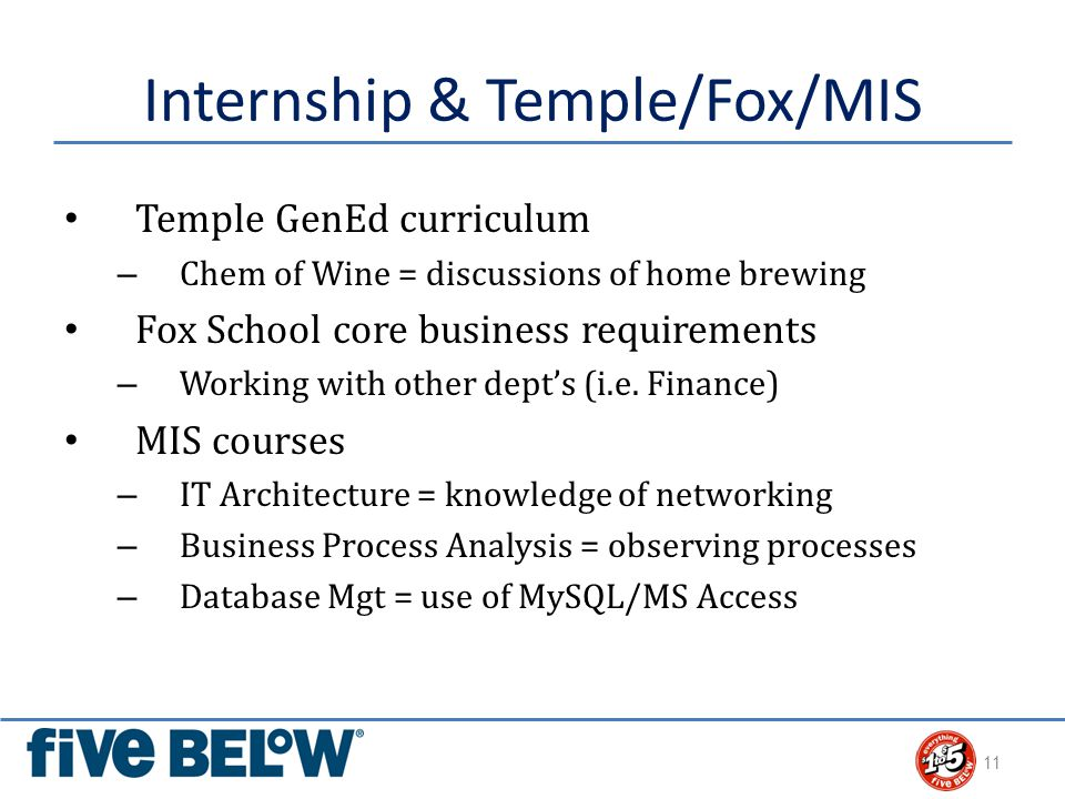 Internship & Temple/Fox/MIS Temple GenEd curriculum – Chem of Wine = discussions of home brewing Fox School core business requirements – Working with other dept's (i.e.