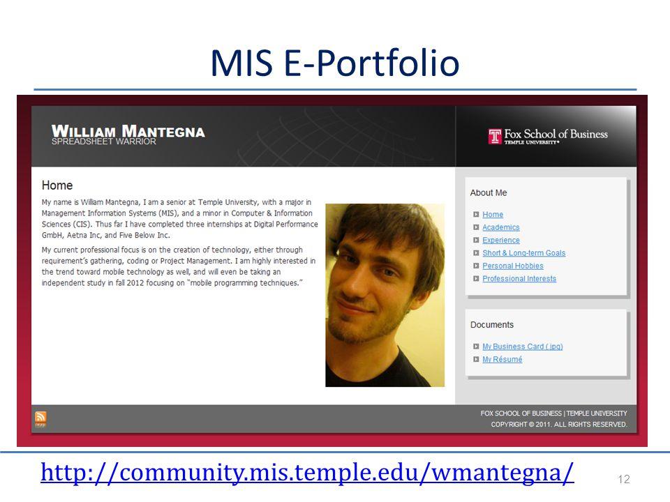 MIS E-Portfolio http://community.mis.temple.edu/wmantegna/ 12