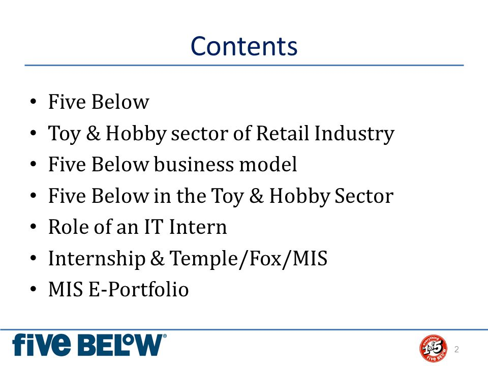 Contents Five Below Toy & Hobby sector of Retail Industry Five Below business model Five Below in the Toy & Hobby Sector Role of an IT Intern Internship & Temple/Fox/MIS MIS E-Portfolio 2