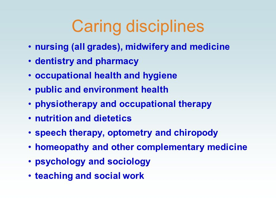 Caring disciplines nursing (all grades), midwifery and medicine dentistry and pharmacy occupational health and hygiene public and environment health physiotherapy and occupational therapy nutrition and dietetics speech therapy, optometry and chiropody homeopathy and other complementary medicine psychology and sociology teaching and social work