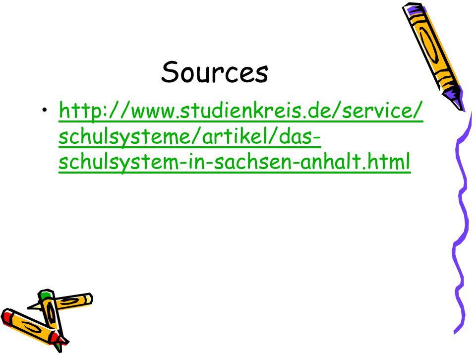 Sources http://www.studienkreis.de/service/ schulsysteme/artikel/das- schulsystem-in-sachsen-anhalt.htmlhttp://www.studienkreis.de/service/ schulsyste