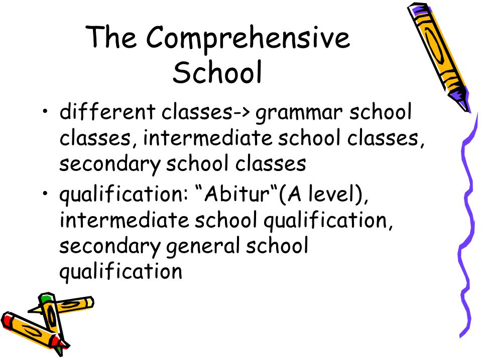 "The Comprehensive School different classes-> grammar school classes, intermediate school classes, secondary school classes qualification: ""Abitur""(A l"