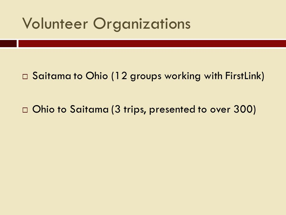 Business Internships  Ohio-Saitama Company Internship Program (OSCI) Since 1991: 78 interns at 39 different companies  Saitama-Ohio Company Internship Program (SOCI) Since 2001: 23 interns at 51 different companies