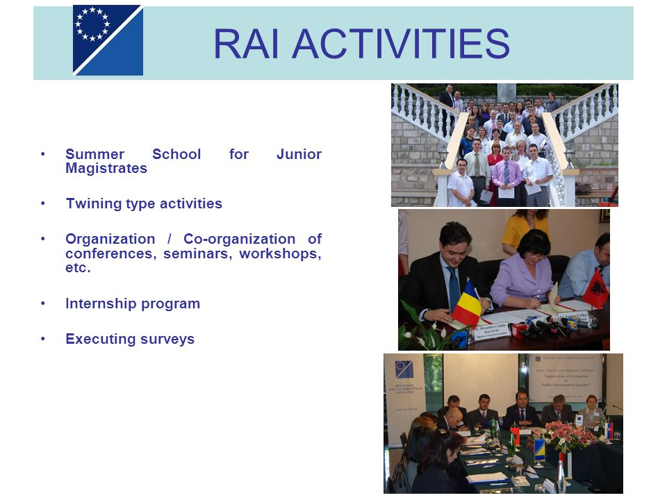 RAI ACTIVITIES Summer School for Junior Magistrates Twining type activities Organization / Co-organization of conferences, seminars, workshops, etc. I