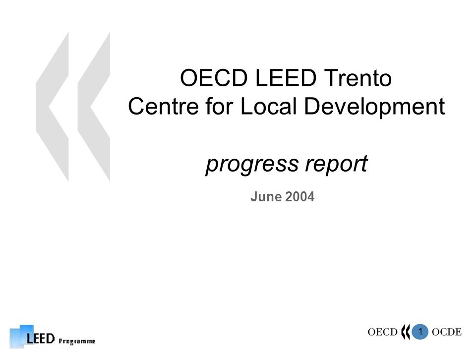1 OECD LEED Trento Centre for Local Development progress report June 2004