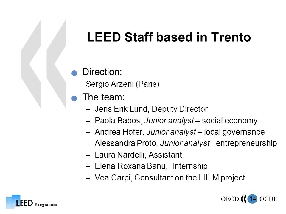 14 LEED Staff based in Trento Direction: Sergio Arzeni (Paris) The team: –Jens Erik Lund, Deputy Director –Paola Babos, Junior analyst – social economy –Andrea Hofer, Junior analyst – local governance –Alessandra Proto, Junior analyst - entrepreneurship –Laura Nardelli, Assistant –Elena Roxana Banu, Internship –Vea Carpi, Consultant on the LIILM project