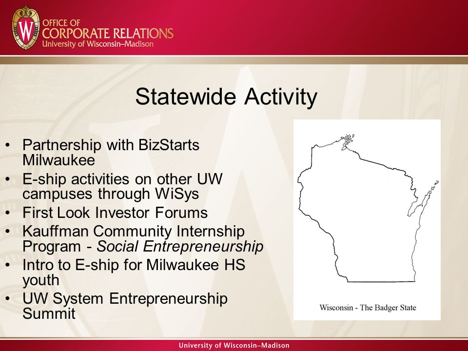 Partnership with BizStarts Milwaukee E-ship activities on other UW campuses through WiSys First Look Investor Forums Kauffman Community Internship Program - Social Entrepreneurship Intro to E-ship for Milwaukee HS youth UW System Entrepreneurship Summit Statewide Activity