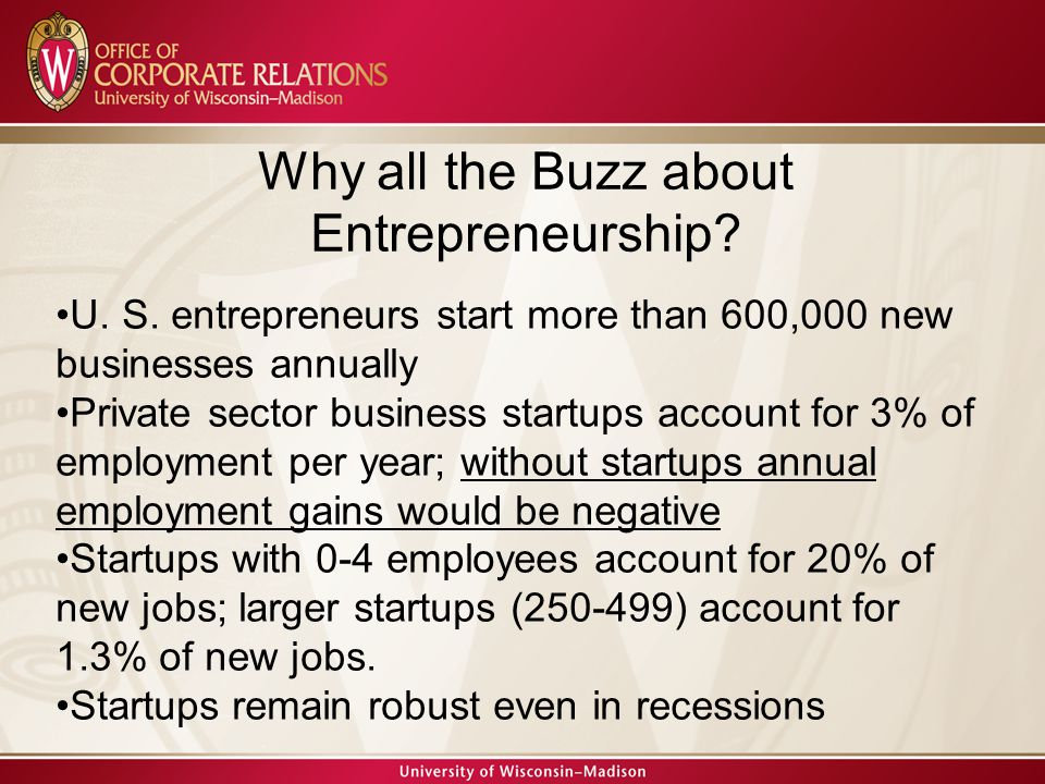 Why all the Buzz about Entrepreneurship. U. S.