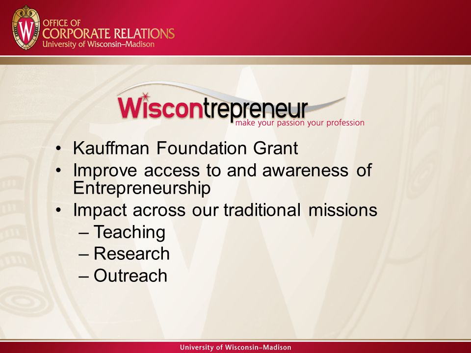 Kauffman Foundation Grant Improve access to and awareness of Entrepreneurship Impact across our traditional missions –Teaching –Research –Outreach