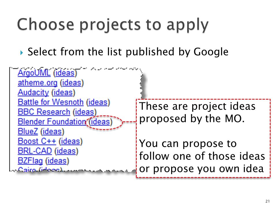  Select from the list published by Google 21 These are project ideas proposed by the MO.