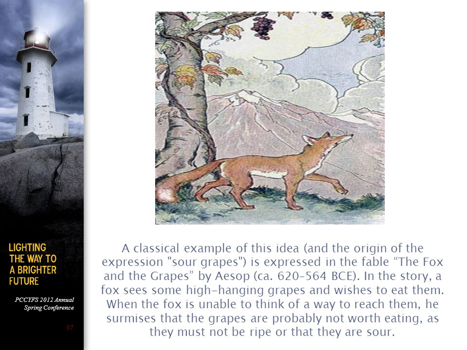 PCCYFS 2012 Annual Spring Conference 37 A classical example of this idea (and the origin of the expression sour grapes ) is expressed in the fable The Fox and the Grapes by Aesop (ca.
