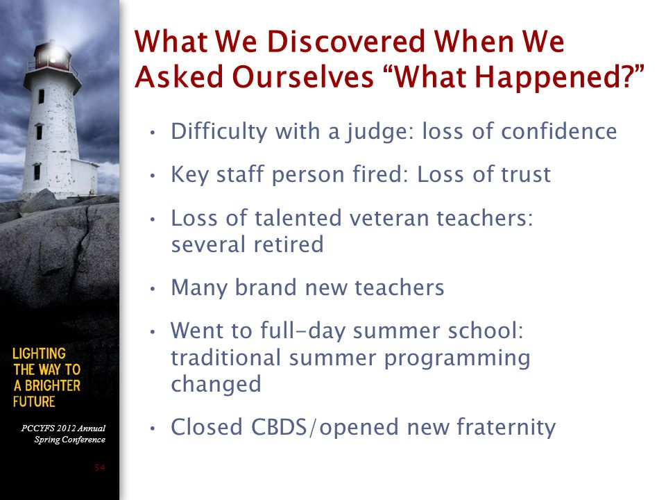 PCCYFS 2012 Annual Spring Conference 54 What We Discovered When We Asked Ourselves What Happened Difficulty with a judge: loss of confidence Key staff person fired: Loss of trust Loss of talented veteran teachers: several retired Many brand new teachers Went to full-day summer school: traditional summer programming changed Closed CBDS/opened new fraternity