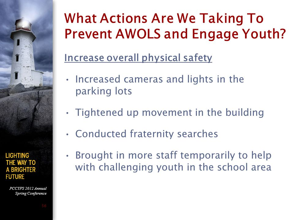 PCCYFS 2012 Annual Spring Conference 56 What Actions Are We Taking To Prevent AWOLS and Engage Youth.