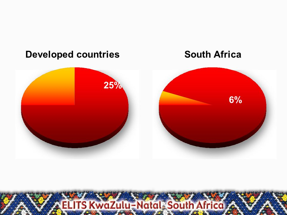 25% 6% Developed countriesSouth Africa