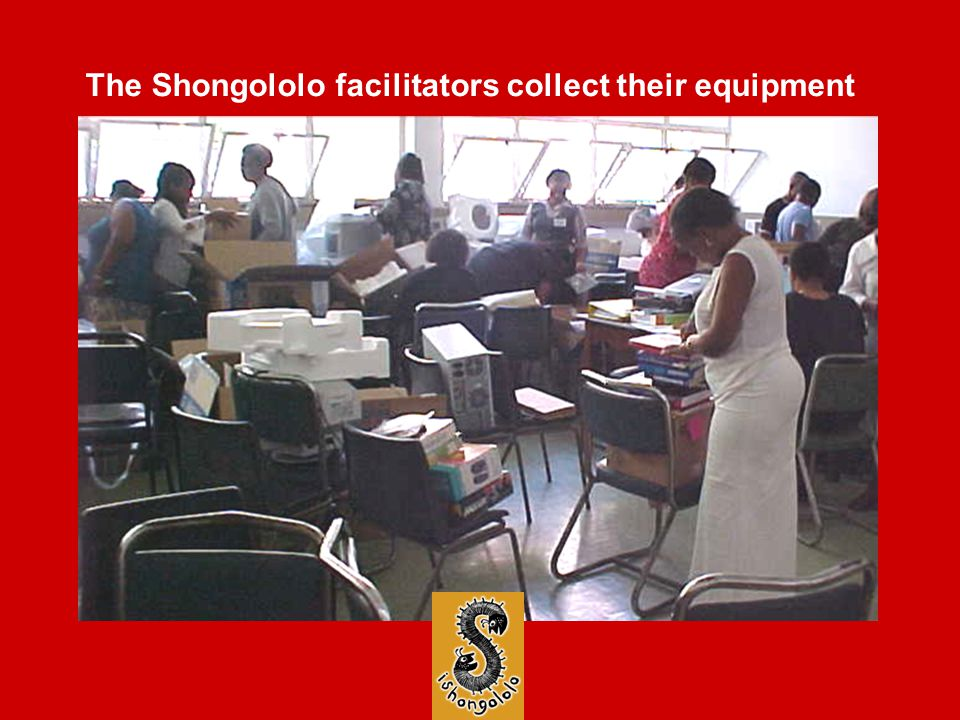 The Shongololo facilitators collect their equipment