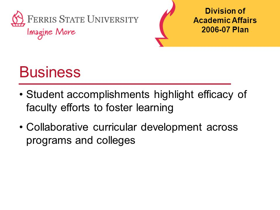Business Student accomplishments highlight efficacy of faculty efforts to foster learning Collaborative curricular development across programs and col