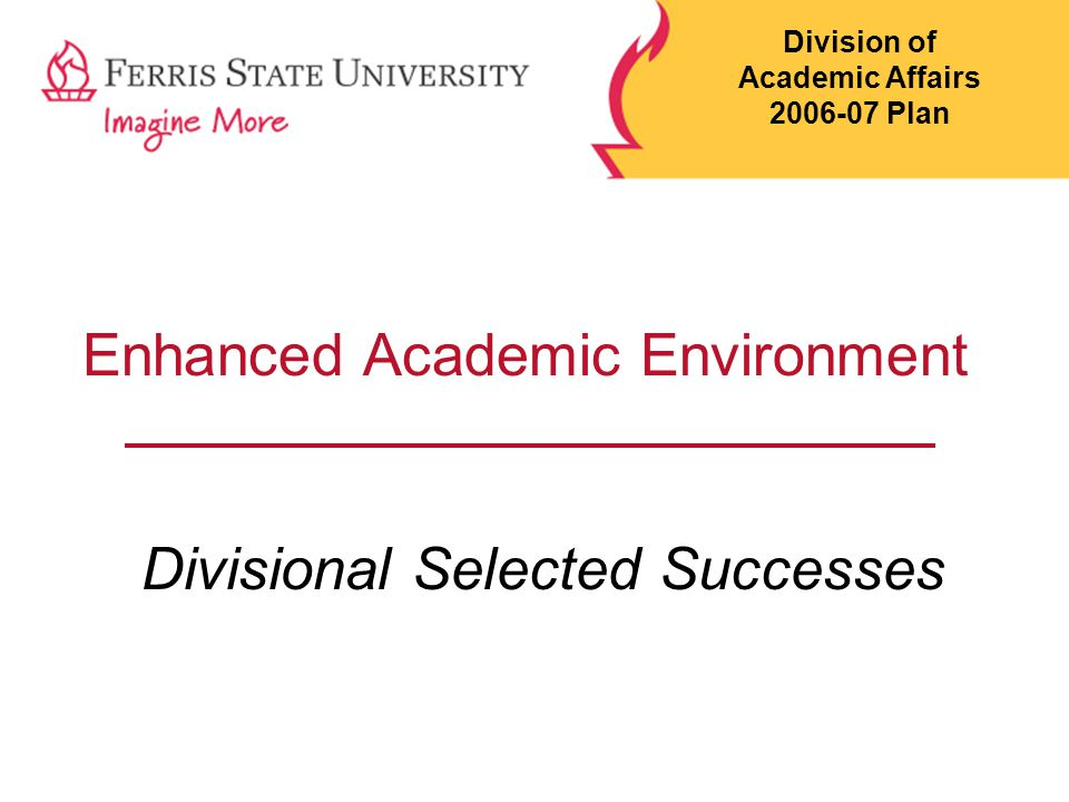 Pillar I: Learning-Centered Campus Enhance Academic Environment  Professional Development  Enhanced Hiring Practices  Enhanced Faculty Support  Structural Reexamination Division of Academic Affairs 2006-07 Plan