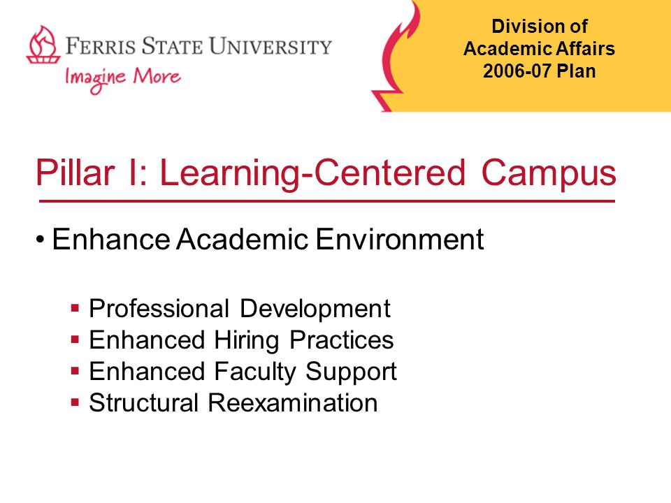 Pillar I: Learning-Centered Campus Insure a current and relevant curriculum  Emphasized accreditation  Emphasized assessment  Supported retention  Curriculum innovations  On-line development Division of Academic Affairs 2006-07 Plan