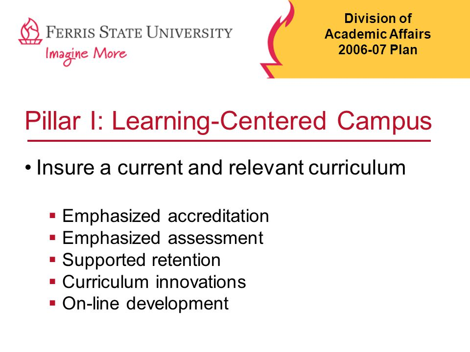 Pillar I: Learning-Centered Campus Insure a current and relevant curriculum  Emphasized accreditation  Emphasized assessment  Supported retention  Curriculum innovations  On-line development Division of Academic Affairs 2006-07 Plan