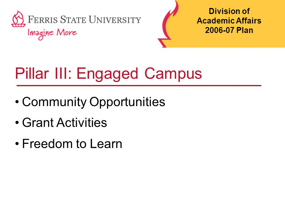 Pillar III: Engaged Campus Community Opportunities Grant Activities Freedom to Learn Division of Academic Affairs 2006-07 Plan