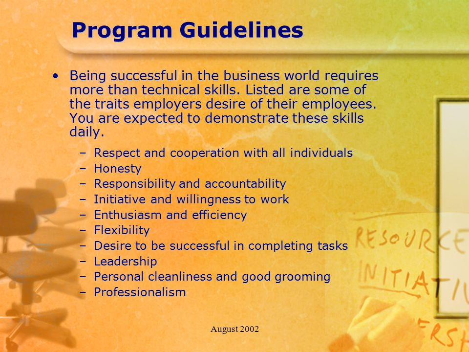 August 2002 Program Guidelines Being successful in the business world requires more than technical skills. Listed are some of the traits employers des