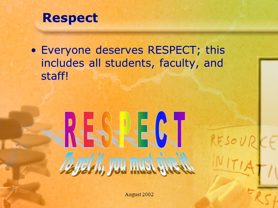 August 2002Respect Everyone deserves RESPECT; this includes all students, faculty, and staff!Everyone deserves RESPECT; this includes all students, fa