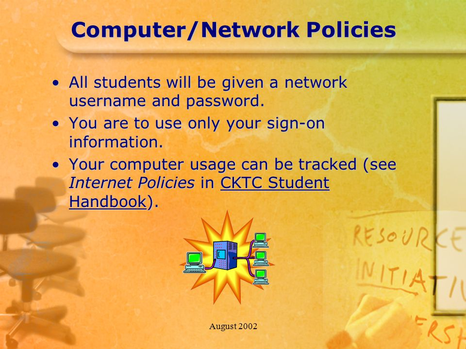August 2002 Computer/Network Policies All students will be given a network username and password.All students will be given a network username and pas