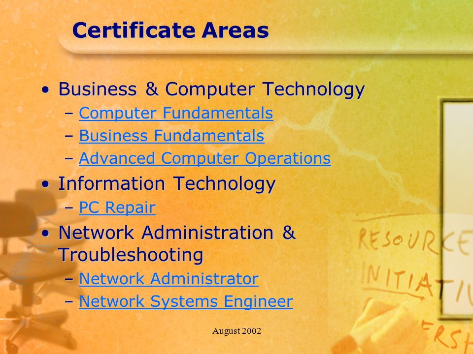 August 2002 Certificate Areas Business & Computer TechnologyBusiness & Computer Technology –Computer Fundamentals Computer FundamentalsComputer Fundam
