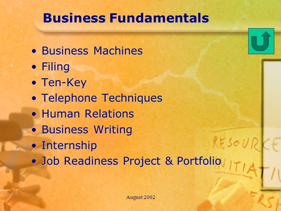 August 2002 Business Fundamentals Business MachinesBusiness Machines FilingFiling Ten-KeyTen-Key Telephone TechniquesTelephone Techniques Human Relati