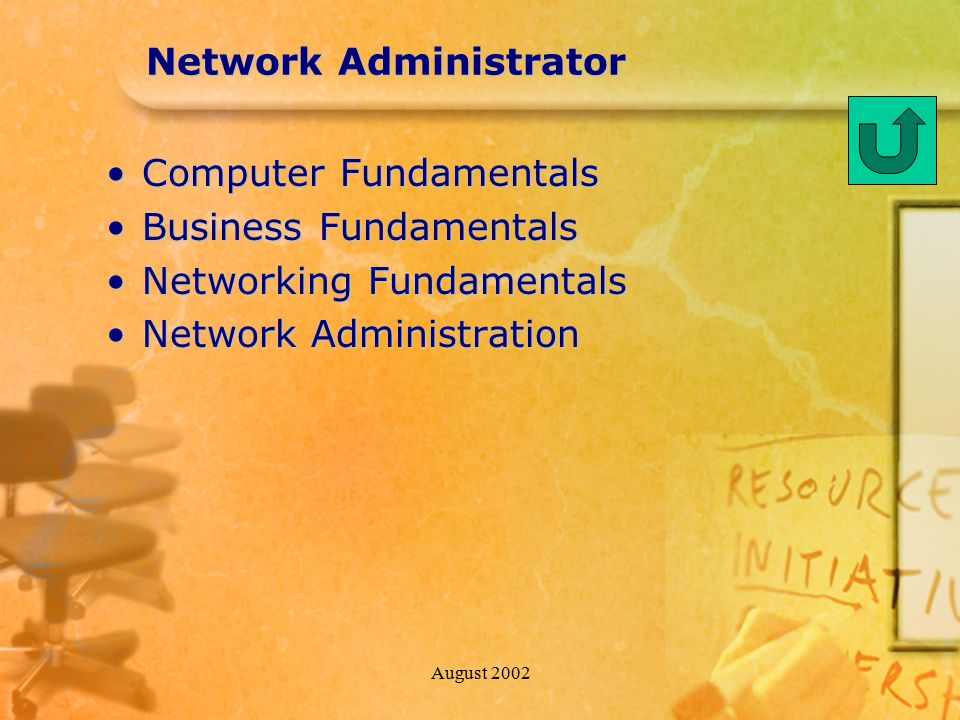 August 2002 Network Administrator Computer FundamentalsComputer Fundamentals Business FundamentalsBusiness Fundamentals Networking FundamentalsNetworking Fundamentals Network AdministrationNetwork Administration