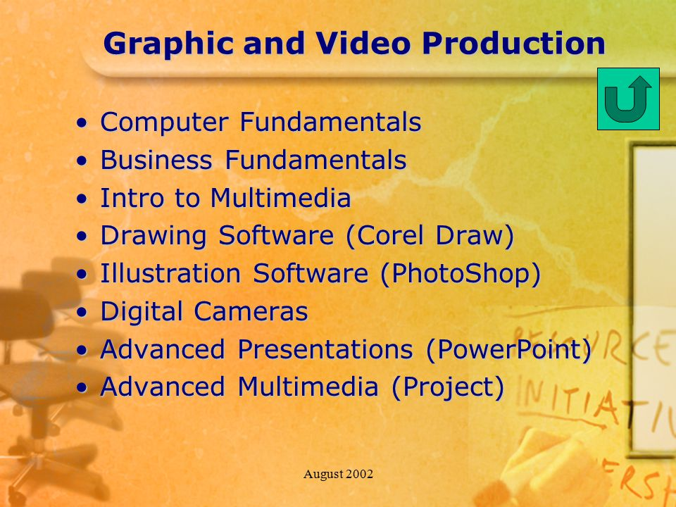 August 2002 Graphic and Video Production Computer FundamentalsComputer Fundamentals Business FundamentalsBusiness Fundamentals Intro to MultimediaIntro to Multimedia Drawing Software (Corel Draw)Drawing Software (Corel Draw) Illustration Software (PhotoShop)Illustration Software (PhotoShop) Digital CamerasDigital Cameras Advanced Presentations (PowerPoint)Advanced Presentations (PowerPoint) Advanced Multimedia (Project)Advanced Multimedia (Project)