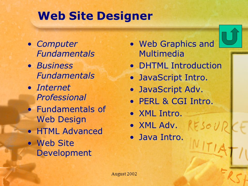 August 2002 Web Site Designer Computer FundamentalsComputer Fundamentals Business FundamentalsBusiness Fundamentals Internet ProfessionalInternet Professional Fundamentals of Web DesignFundamentals of Web Design HTML AdvancedHTML Advanced Web Site DevelopmentWeb Site Development Web Graphics and Multimedia DHTML Introduction JavaScript Intro.