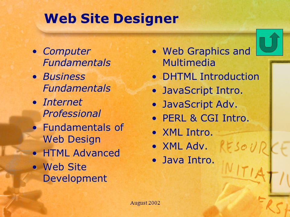 August 2002 Web Site Designer Computer FundamentalsComputer Fundamentals Business FundamentalsBusiness Fundamentals Internet ProfessionalInternet Prof