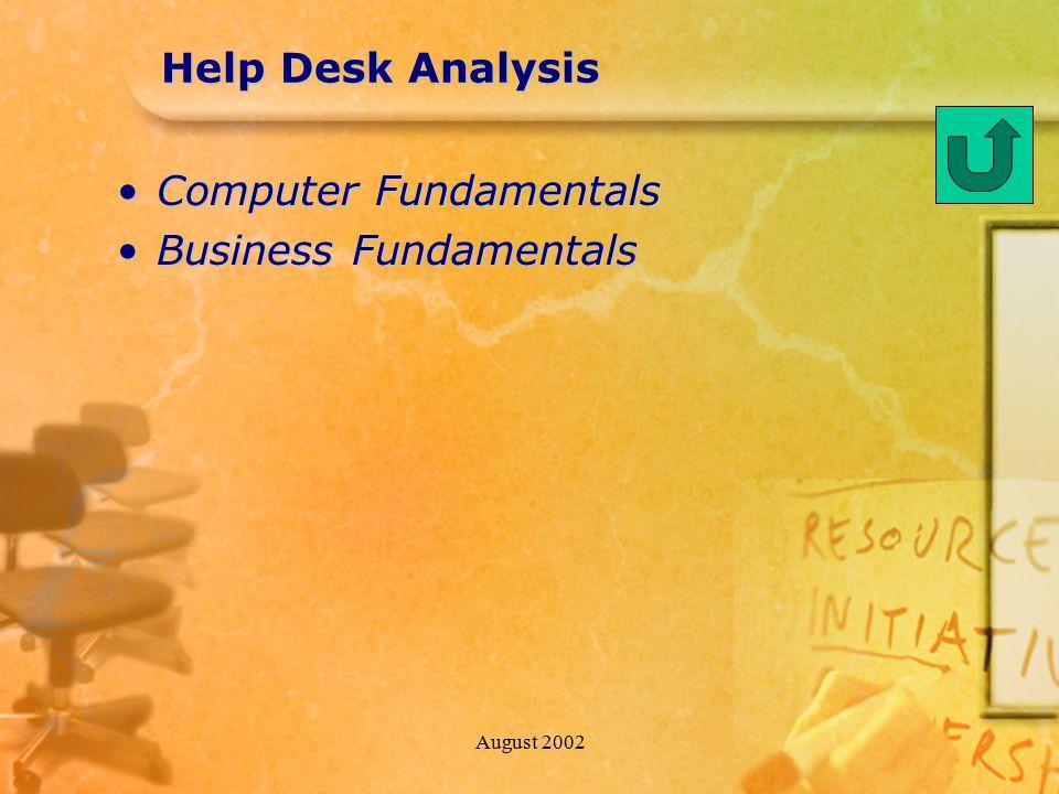 August 2002 Help Desk Analysis Computer FundamentalsComputer Fundamentals Business FundamentalsBusiness Fundamentals