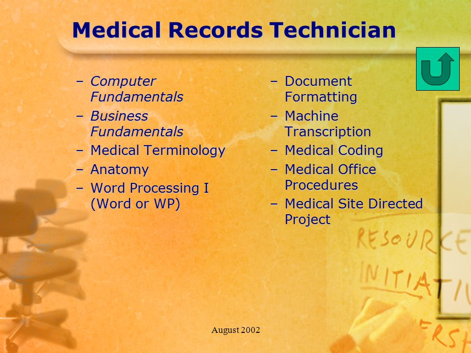 August 2002 Medical Records Technician –Computer Fundamentals –Business Fundamentals –Medical Terminology –Anatomy –Word Processing I (Word or WP) –Document Formatting –Machine Transcription –Medical Coding –Medical Office Procedures –Medical Site Directed Project