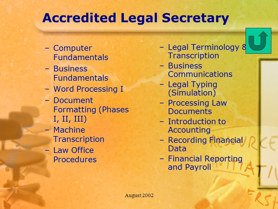 August 2002 Accredited Legal Secretary –Computer Fundamentals –Business Fundamentals –Word Processing I –Document Formatting (Phases I, II, III) –Machine Transcription –Law Office Procedures –Legal Terminology & Transcription –Business Communications –Legal Typing (Simulation) –Processing Law Documents –Introduction to Accounting –Recording Financial Data –Financial Reporting and Payroll