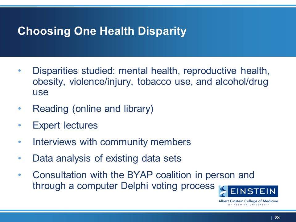 | 28 Choosing One Health Disparity Disparities studied: mental health, reproductive health, obesity, violence/injury, tobacco use, and alcohol/drug use Reading (online and library) Expert lectures Interviews with community members Data analysis of existing data sets Consultation with the BYAP coalition in person and through a computer Delphi voting process