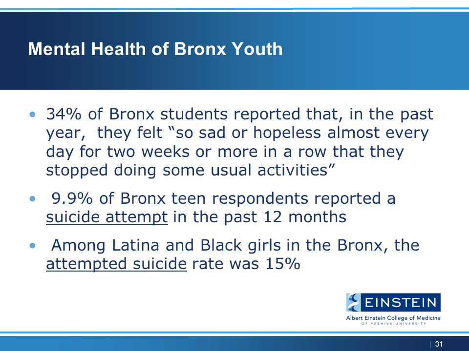| 31 Mental Health of Bronx Youth 34% of Bronx students reported that, in the past year, they felt so sad or hopeless almost every day for two weeks or more in a row that they stopped doing some usual activities 9.9% of Bronx teen respondents reported a suicide attempt in the past 12 months Among Latina and Black girls in the Bronx, the attempted suicide rate was 15%