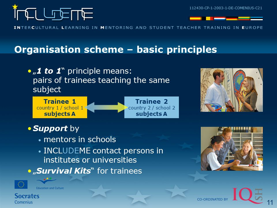 "112430-CP-1-2003-1-DE-COMENIUS-C21 Organisation scheme – basic principles ""1 to 1"" principle means: pairs of trainees teaching the same subject Suppor"